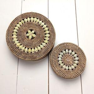 Other - Boho Straw Rattan Seashell Lided Nesting Baskets